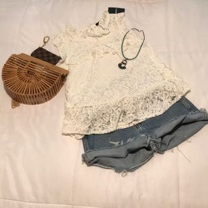 White lace flutter sleeve blouse. NWT